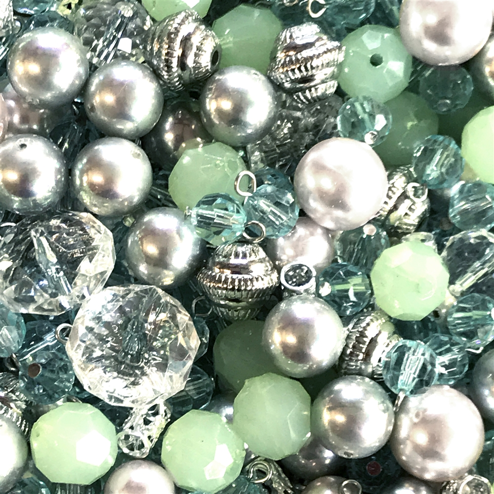 Vintage celadon, pearl and silver bead mix,  acrylic beads, vintage, aqua beads, mixed beads, mixed vintage beads, faceted beads, metalized beads, acrylic beads, wired drops,  B'sue Boutiques, 01070