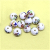 Floral glass round beads, Japanese Tombo beads, beading supplies, multi-colored millefleurs, jewelry making, jewelry supplies, vintage supplies, B'sue, round beads, 8mm, glass beads, 01097