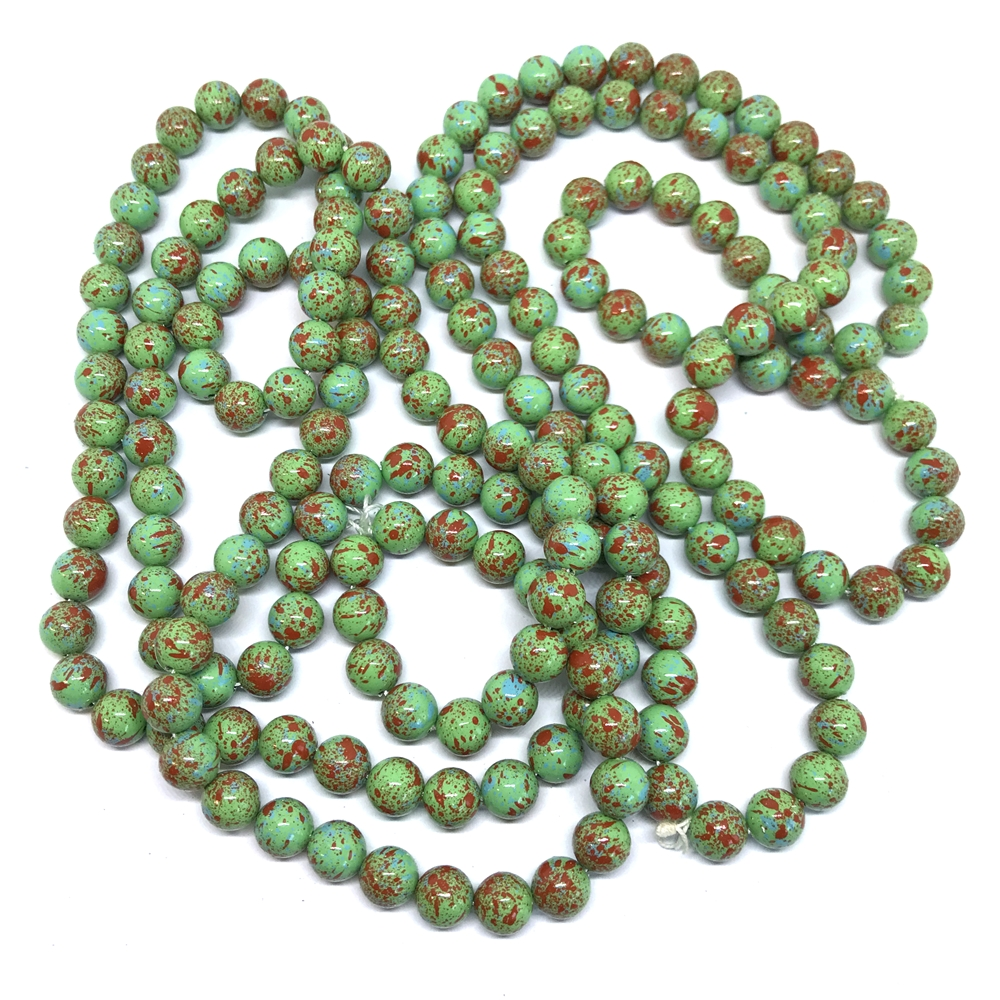 paint spattered beads, acrylic beads, beading supplies, green, jewelry making, jewelry supplies, vintage supplies, B'sue, round beads, 8mm, speckled beads, 01100, beads,