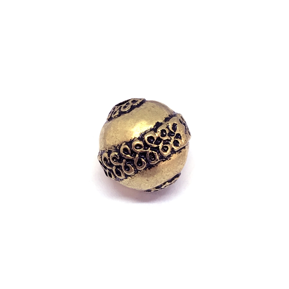 vintage acrylic beads, metalized beads, 01125, goldtone beads, black antiquing, vintage jewelry supplies, jewelry making supplies, fashion beads, gold tone, drilled, scroll pattern, 15mm