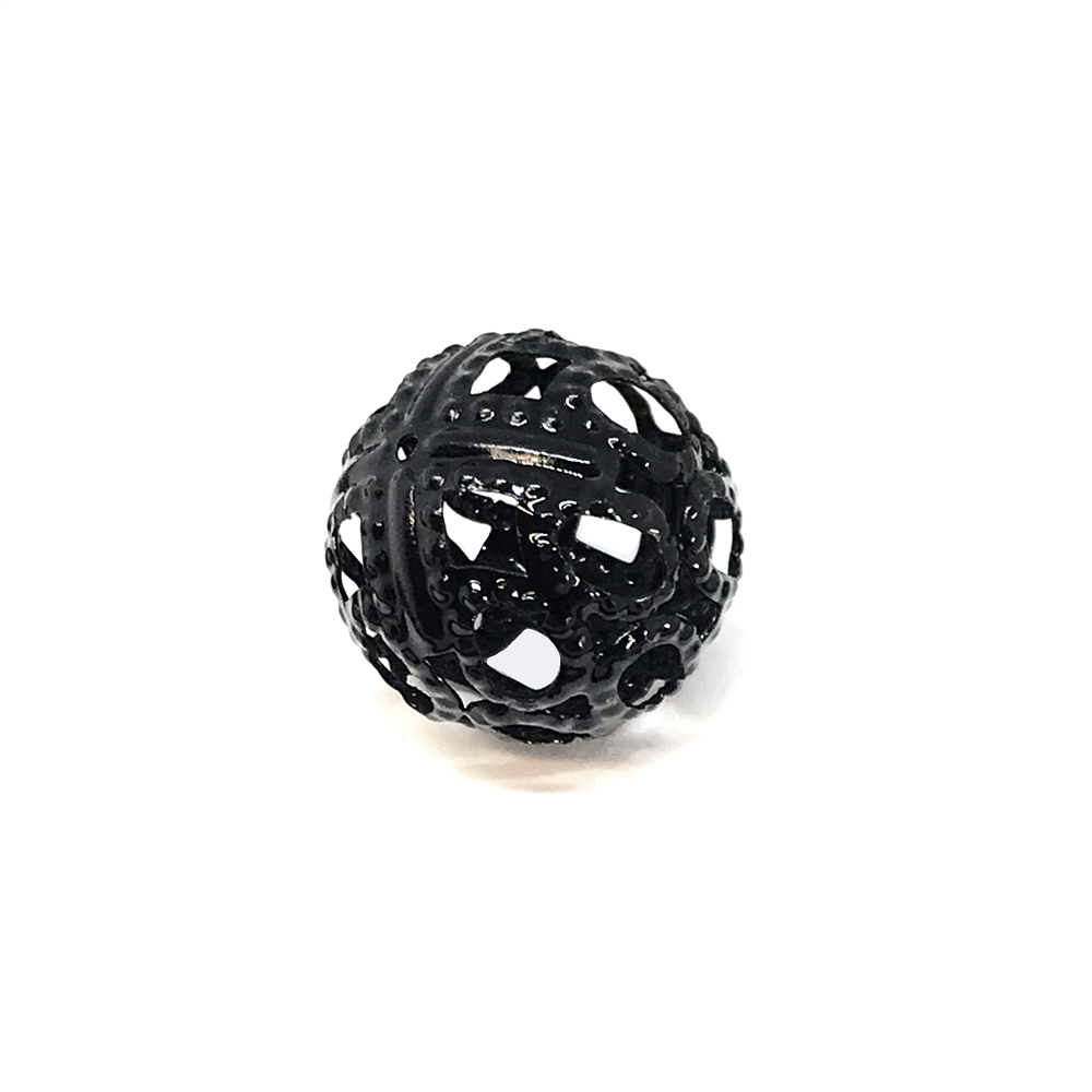 black beads, filigree beads, jewelry making, 01133, brass bead, openwork filigree beads, round beads, designer findings, designer beads, beading supplies, vintage jewelry supplies, 19mm, metal beads