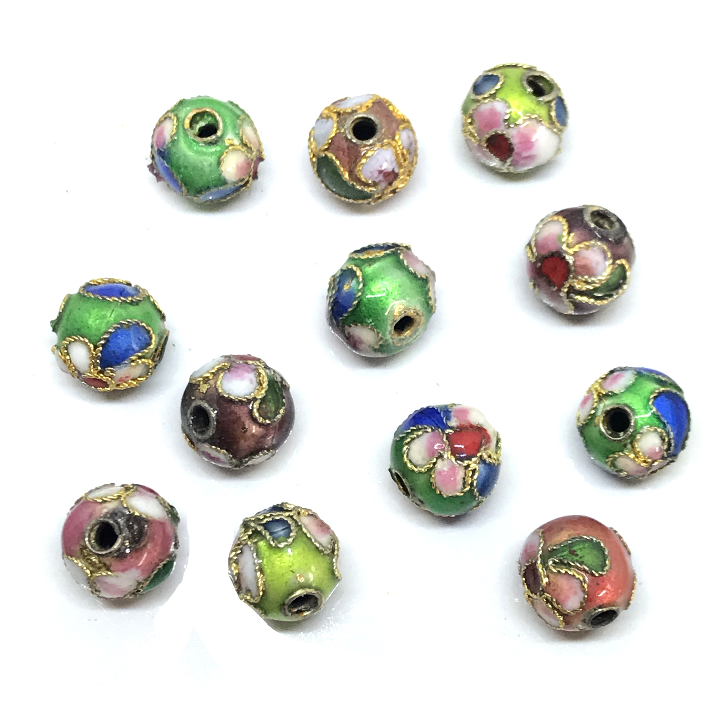 Vintage Handmade Cloisonne Beads, 12 Piece, 8mm, 01207, multi-color, cloisonne, beads, metal beads, brass beads, floral beads, flower beads, B'sue