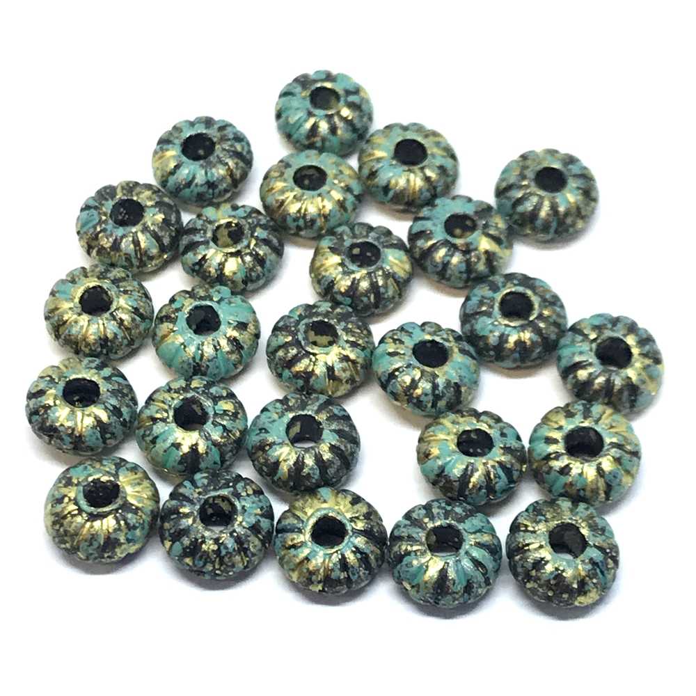 ribbed acrylic rondelle beads, aqua patina, rondelle beads, golden bronze, ribbed beads, abacus beads, 8x4mm, jewelry making, beading supplies, jewelry supplies, vintage supplies, donut beads,  01209