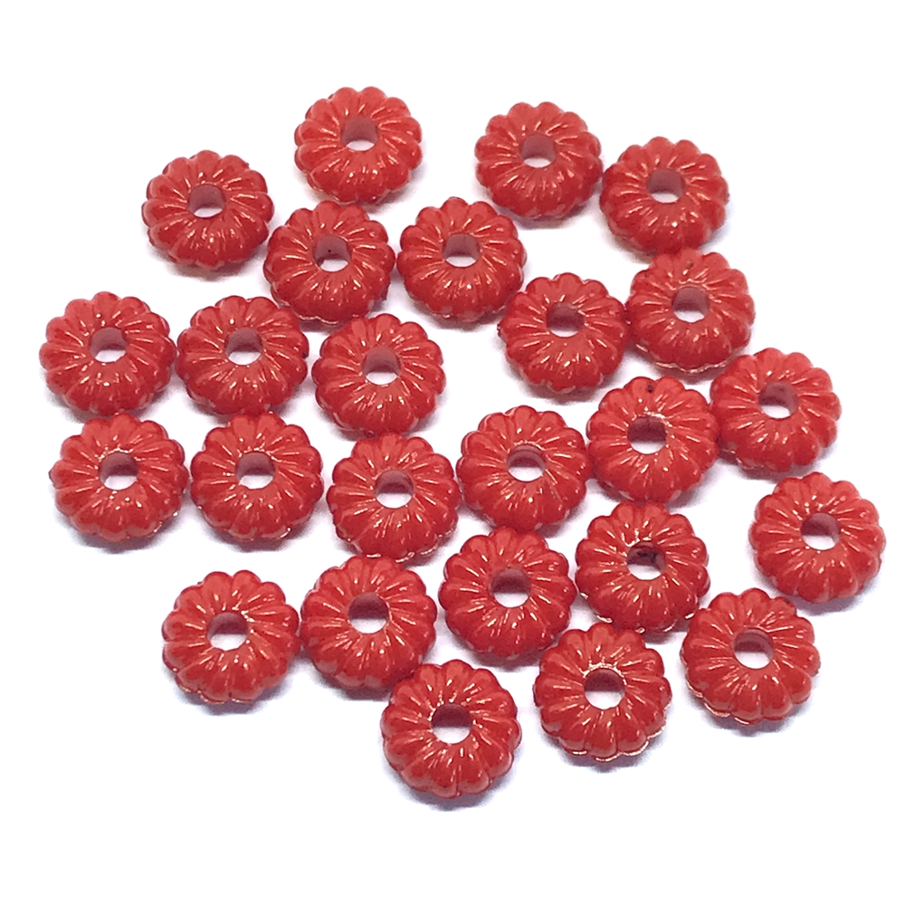 ribbed acrylic rondelle beads, red, rondelle beads, red beads, ribbed beads, abacus beads, 8x4mm, jewelry making, beading supplies, jewelry supplies, vintage supplies, donut beads,  01210