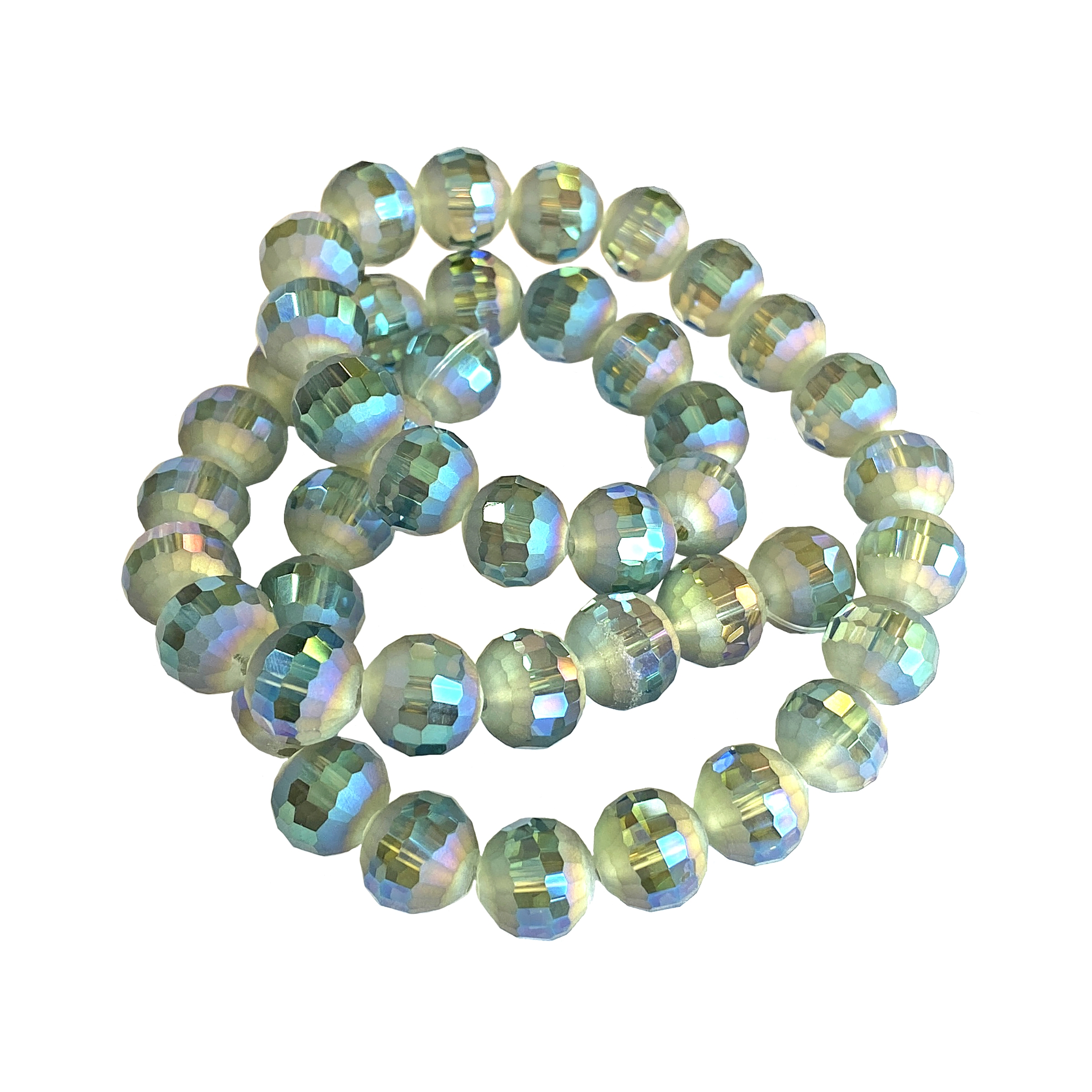 matte blue-green crystal beads, machine cut beads, round beads, glass beads, beads, blue-green beads, crystal beads, faceted, bead, glass, US-made,  B'sue boutiques, jewelry making, jewelry findings, vintage supplies, beading supplies, 10mm, 01248