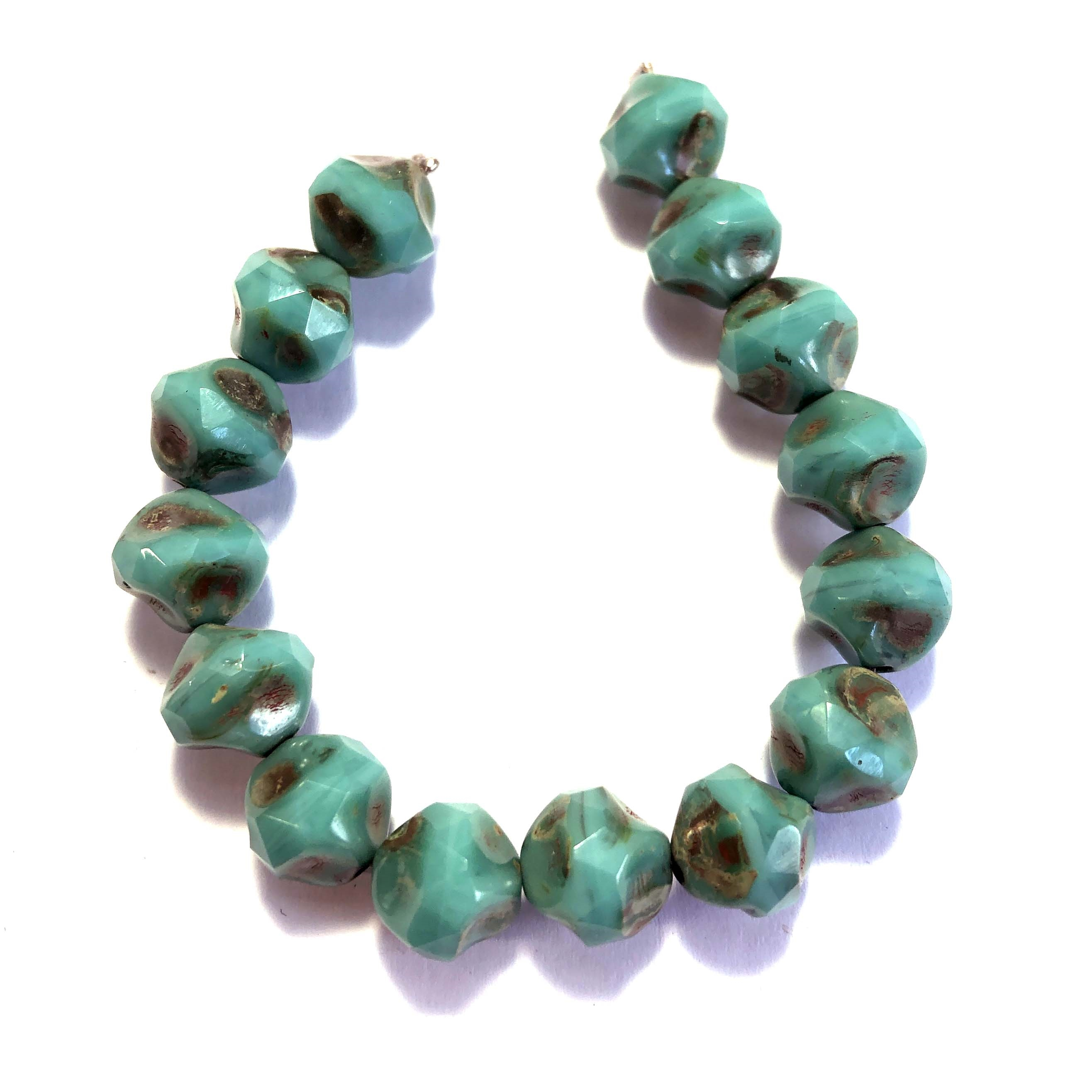 baroque turquoise Picasso finish beads, Czech glass beads, baroque beads, Czech glass, Czech, glass, Picasso, drilled, glass beads, aqua beads, US made, B'sue Boutiques, jewelry making, blue green, 9mm, 0145. beading, beading supplies