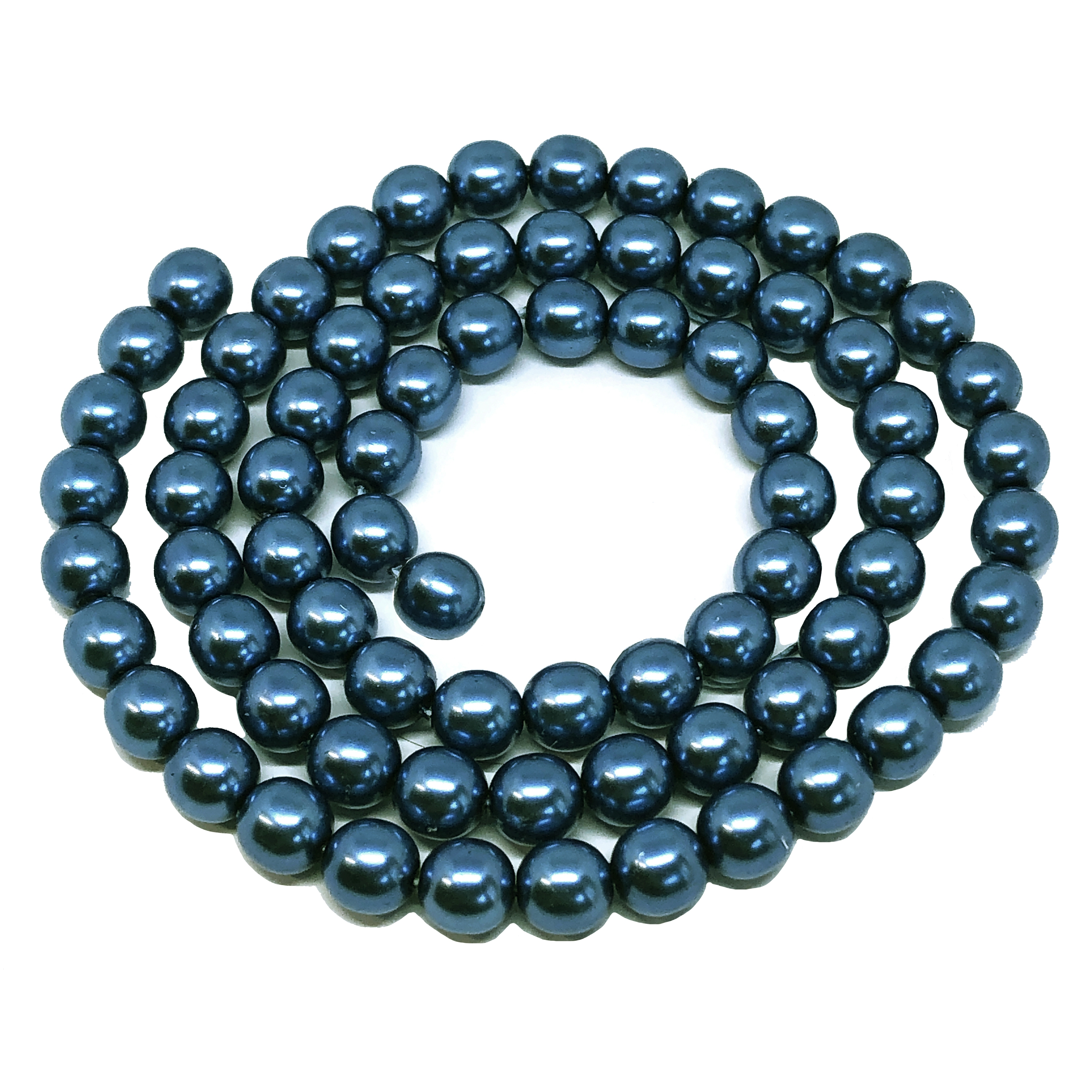 Montana blue pearl beads, 8mm bead, glass pearl, Czech, B'sue Boutiques, bead, jewelry making, beading supplies, vintage supplies, pearl, pearl beads, glass beads, jewelry supplies, jewelry beads, blue beads, 01511