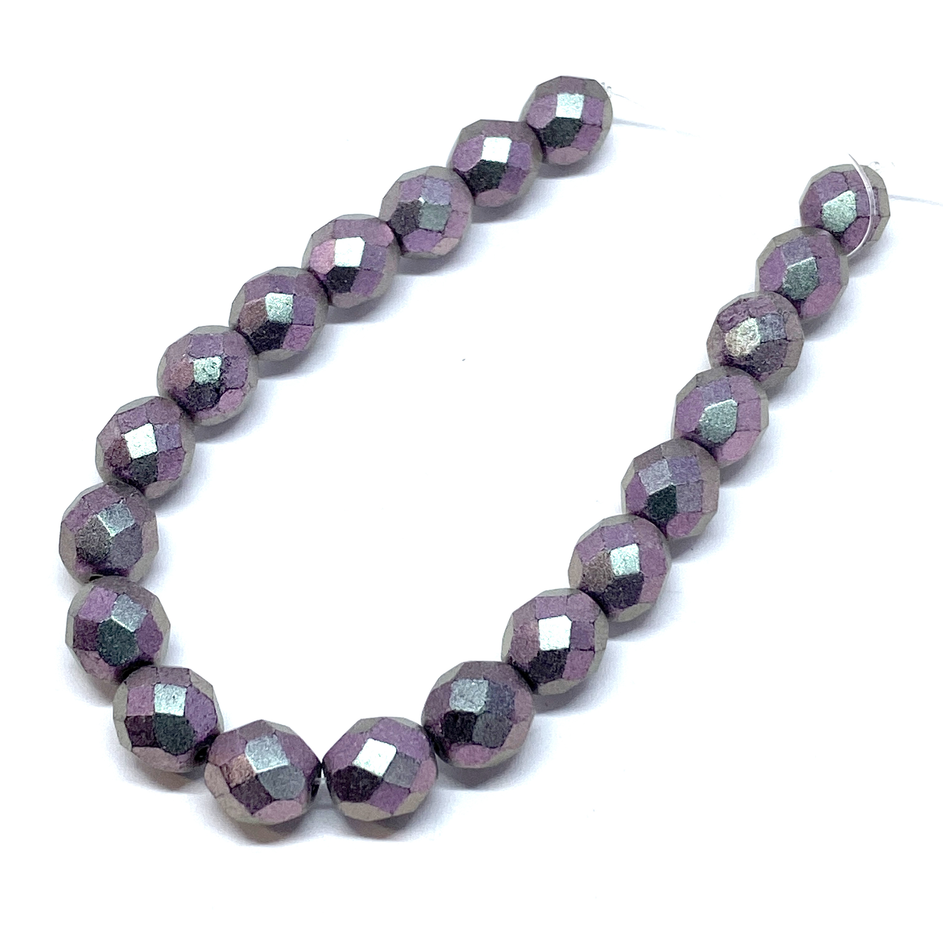 Czech glass beads, matte metallic purple, glass beads, beads, fire polished, purple beads, faceted beads, beading supplies, jewelry making, B'sue Boutiques, temp strung beads, 8mm bead, 8mm, 01526
