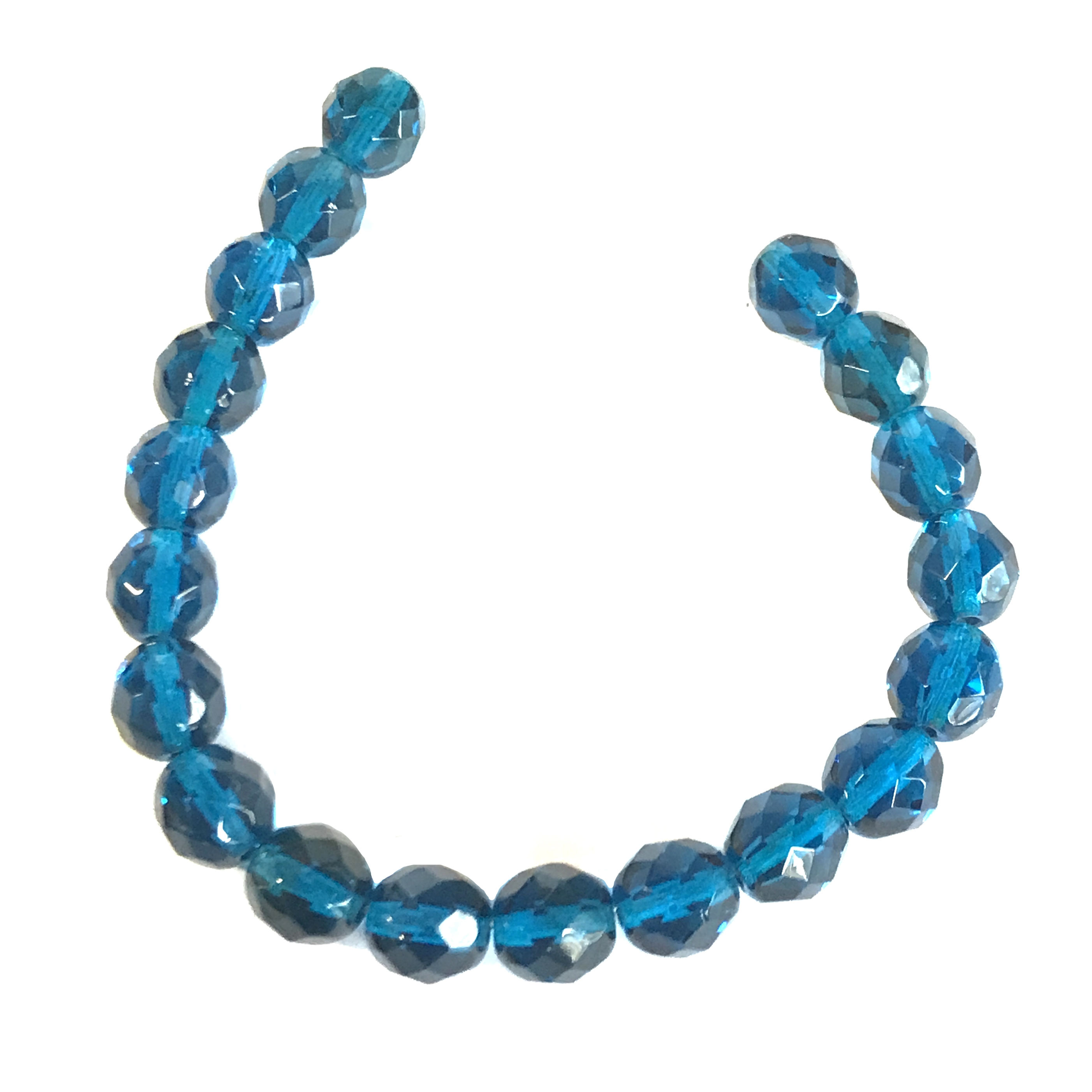 Czech glass beads, capri blue, glass beads, beads, fire polished, blue beads, faceted beads, beading supplies, jewelry making, B'sue Boutiques, temp strung beads, 8mm bead, 8mm, 01527