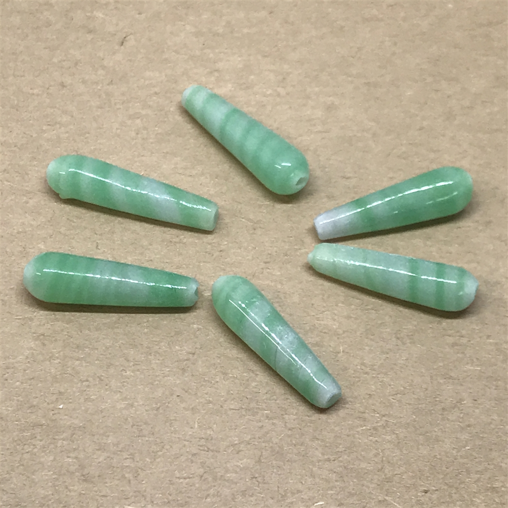 green swirl glass beads, glass beads, beads, made in Japan, green glass, glass, pear shaped beads, 1960s, Japanese beads, swirl beads, 20x6mm, beading supplies, jewelry making, jewelry supplies, B'sue Boutiques, jewelry findings, 01558