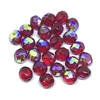 Czech glass beads, 01575, ruby red AB, aurora borealis, beading supplies, jewelry making supplies, vintage jewelry supplies, round beads, faceted beads, machine cut, 10mm, fire polished, iridescent, red beads