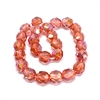 coral AB glass beads, fire polished beads, coral AB fire polished glass beads, glass beads, Czech, coral AB, beading supplies, transparent beads, beads, crystal beads, jewelry making, jewelry supplies, vintage supplies, B'sue, round beads, 6mm, 01578