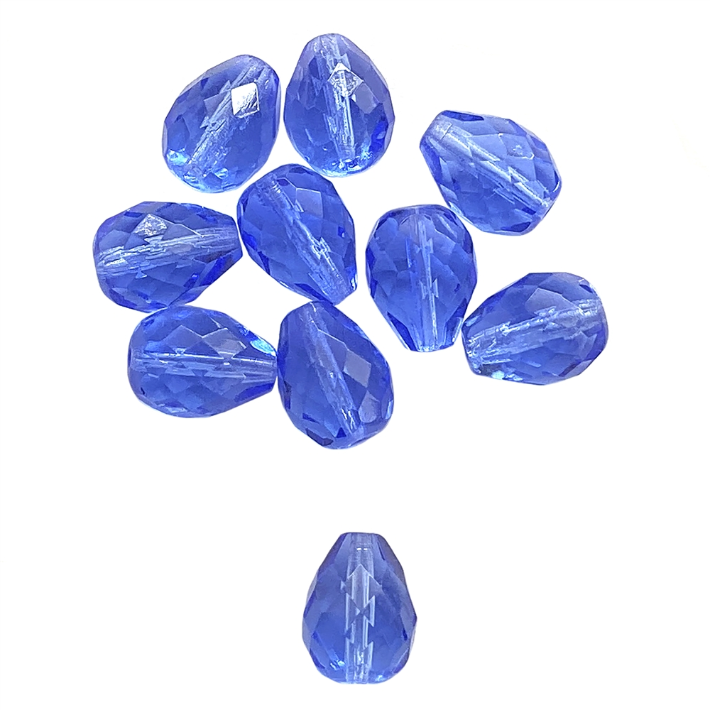 sapphire teardrop glass beads, fire-polished beads, sapphire fire-polished glass beads, glass beads, Czech, sapphire, beading supplies, transparent beads, beads, sapphire beads, jewelry making, jewelry supplies, pear, teardrop, B'sue, 16x12mm, 01580