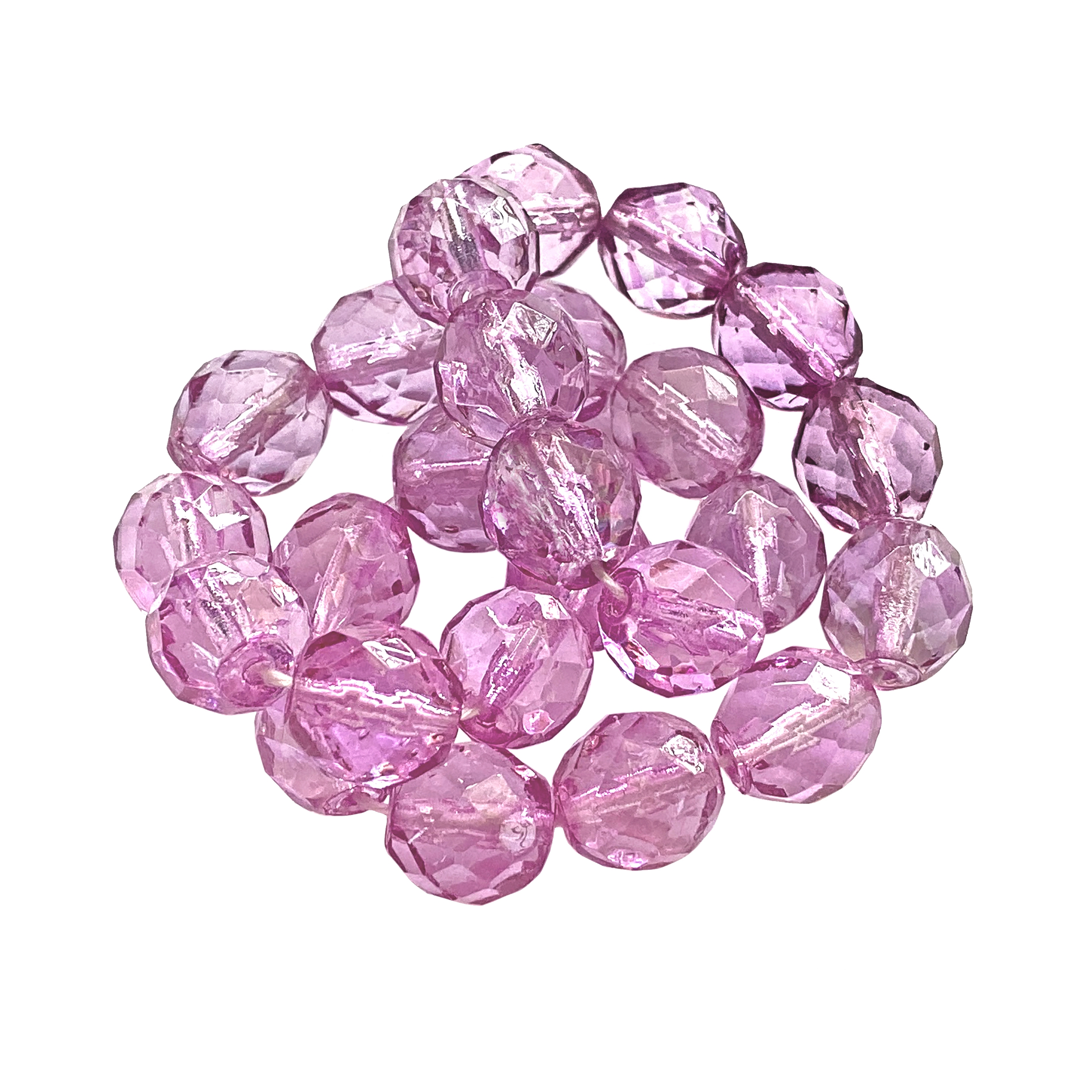 orchid pink glass beads, fire-polished beads, orchid fire-polished glass beads, glass beads, Czech, orchid, beading supplies, transparent beads, beads, crystal beads, jewelry making, jewelry supplies, vintage supplies, B'sue, round beads, 8mm, 01595