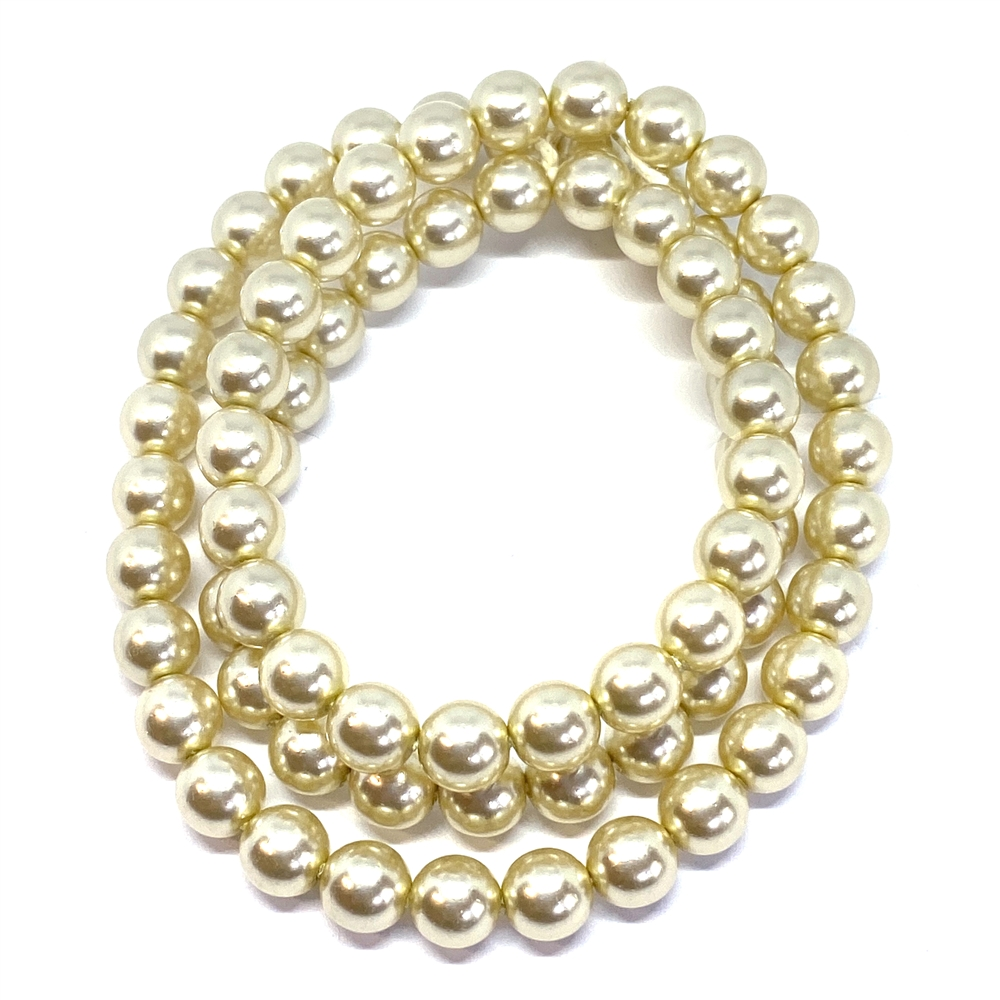 light gold pearl beads, 8mm bead, glass pearl, Czech, B'sue Boutiques, bead, jewelry making, beading supplies, vintage supplies, pearl, pearl beads, glass beads, jewelry supplies, jewelry beads, gold beads, 01764, cream pearls, gold pearls