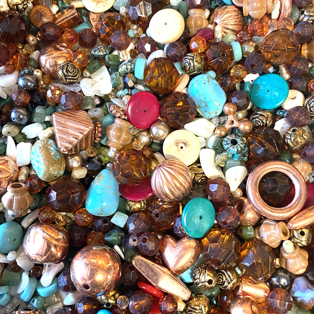 Arizona Desert bead mix, assorted beads, beads, bead mix, drilled beads, varied bead mix, vintage beads, metalized beads, green beads, red beads, pink beads, B'sue Boutiques, semi-precious beads, designer beads, beading, beading supplies, turquoise, 01805