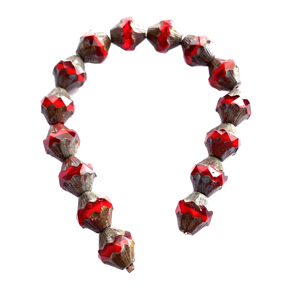 red bicone style turbine beads, red beads, travertine finish, glass beads, glass, Czech, glass, drilled, transparent beads, US made, beading supplies, beads, B'sue Boutiques, jewelry supplies, jewelry making, 10x11mm, 01813