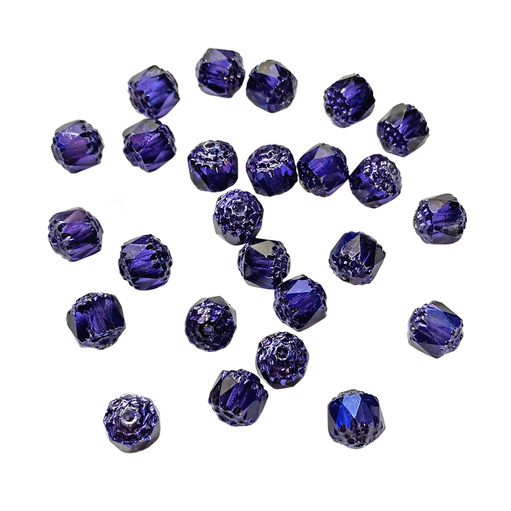 cobalt purple cathedral beads, glass beads, glass, 8mm beads, drilled, Czech glass beads, US-made, B'sue Boutiques, dark purple beads, jewelry making, 8mm, cathedral beads, vintage supplies, jewelry supplies, beads, purple beads, iridescent, 01856
