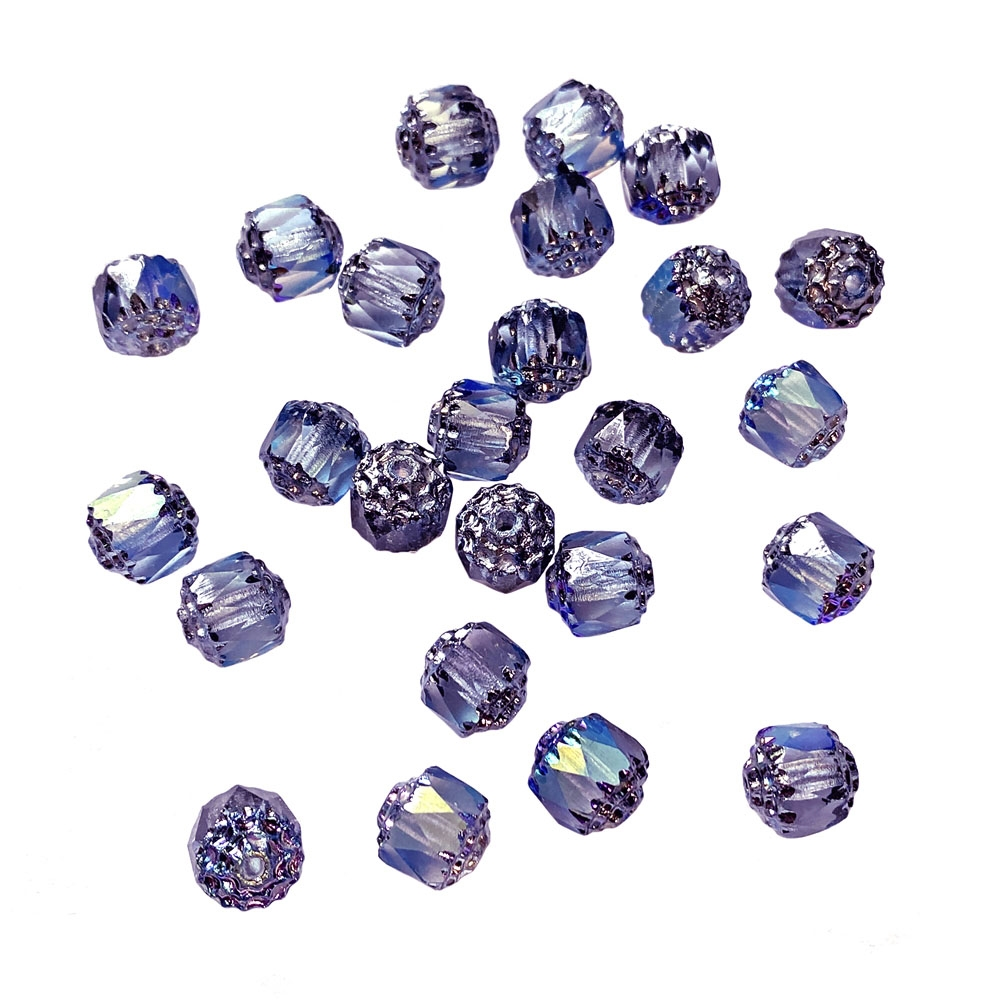 light sapphire cathedral beads, glass beads, glass, 8mm beads, drilled, Czech glass beads, US-made, B'sue Boutiques, blue beads, jewelry making, 8mm, cathedral beads, vintage supplies, jewelry supplies, beads, shine beads, iridescent, 01859