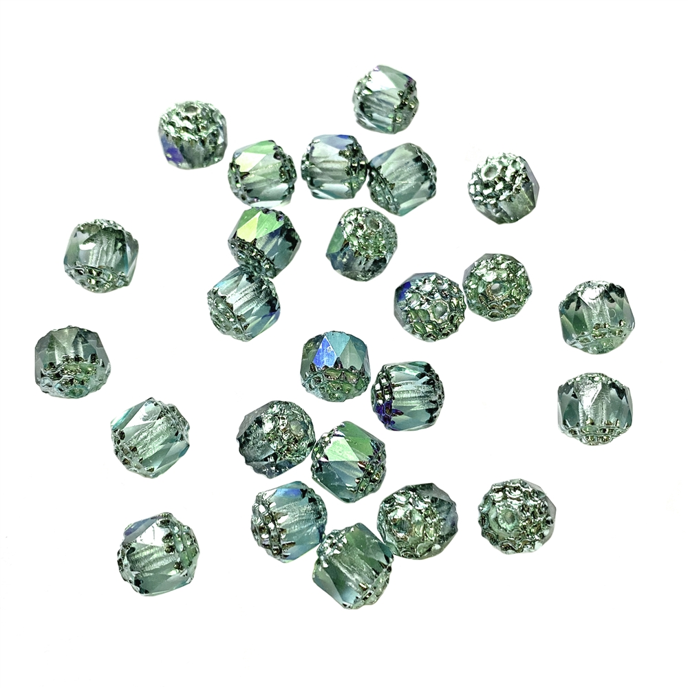 chrysolite shine cathedral beads, glass beads, glass, 8mm beads, drilled, Czech glass beads, US-made, B'sue Boutiques, green beads, jewelry making, 8mm, cathedral beads, vintage supplies, jewelry supplies, beads, shine beads, iridescent, 01860