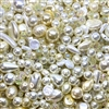 Sunshine bead mix, Version 2, cultura pearls, Japanese pearls, vintage, vintage pearls, MOD cultura, iridescent beads, white and cream, cream pearls, designer pearls, pearls to make jewelry, costume pearls, teardrop pearls, baroque pearls, 01937
