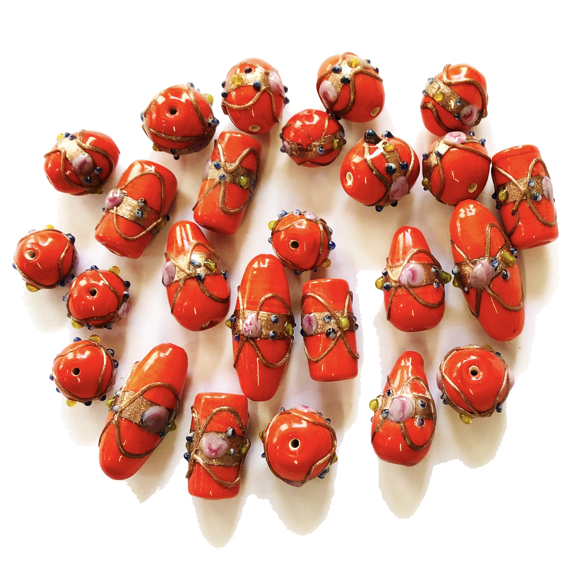 lampwork beads, India glass beads, 10-20mm, beads made by hand, lamp glass, wedding cake beads, glass beads, red bead, white with gold trim beads, beading supplies, jewelry making supplies, B'sue Boutiques, 0208