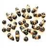 lampwork beads, India glass beads, 10-20mm, beads made by hand, lamp glass, wedding cake beads, glass beads, black bead, white with gold trim beads, beading supplies, jewelry making supplies, B'sue Boutiques, 0210
