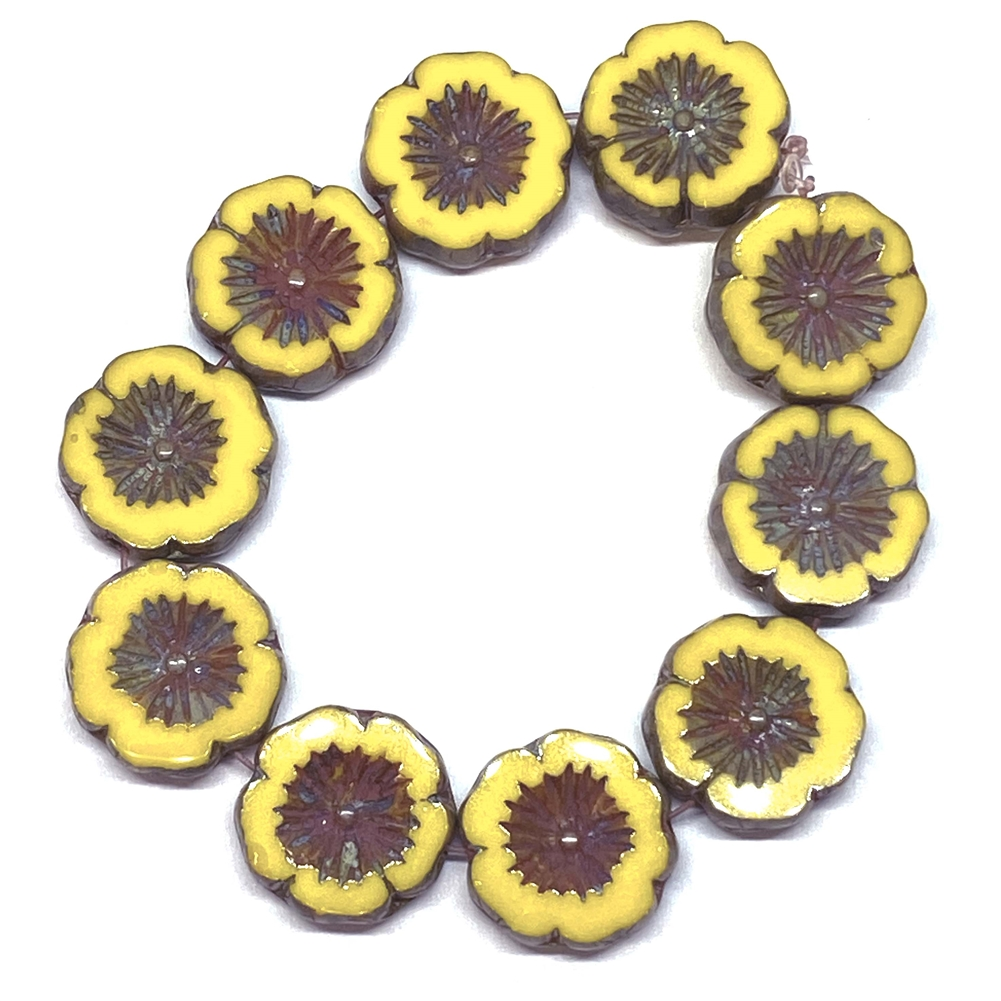 dandelion yellow hibiscus flowers, glass beads, floral beads, yellow, dandelion, Picasso finish, beads, flower beads, carved bead, Czech glass, Hawaiian beads, 14mm, hibiscus flowers, hibiscus beads, jewelry making, beading supplies, 02113