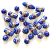 lampwork beads, India glass beads, 10-20mm, beads made by hand, lamp glass, wedding cake beads, glass beads, blue bead, white with gold trim beads, beading supplies, jewelry making supplies, B'sue Boutiques, 0213