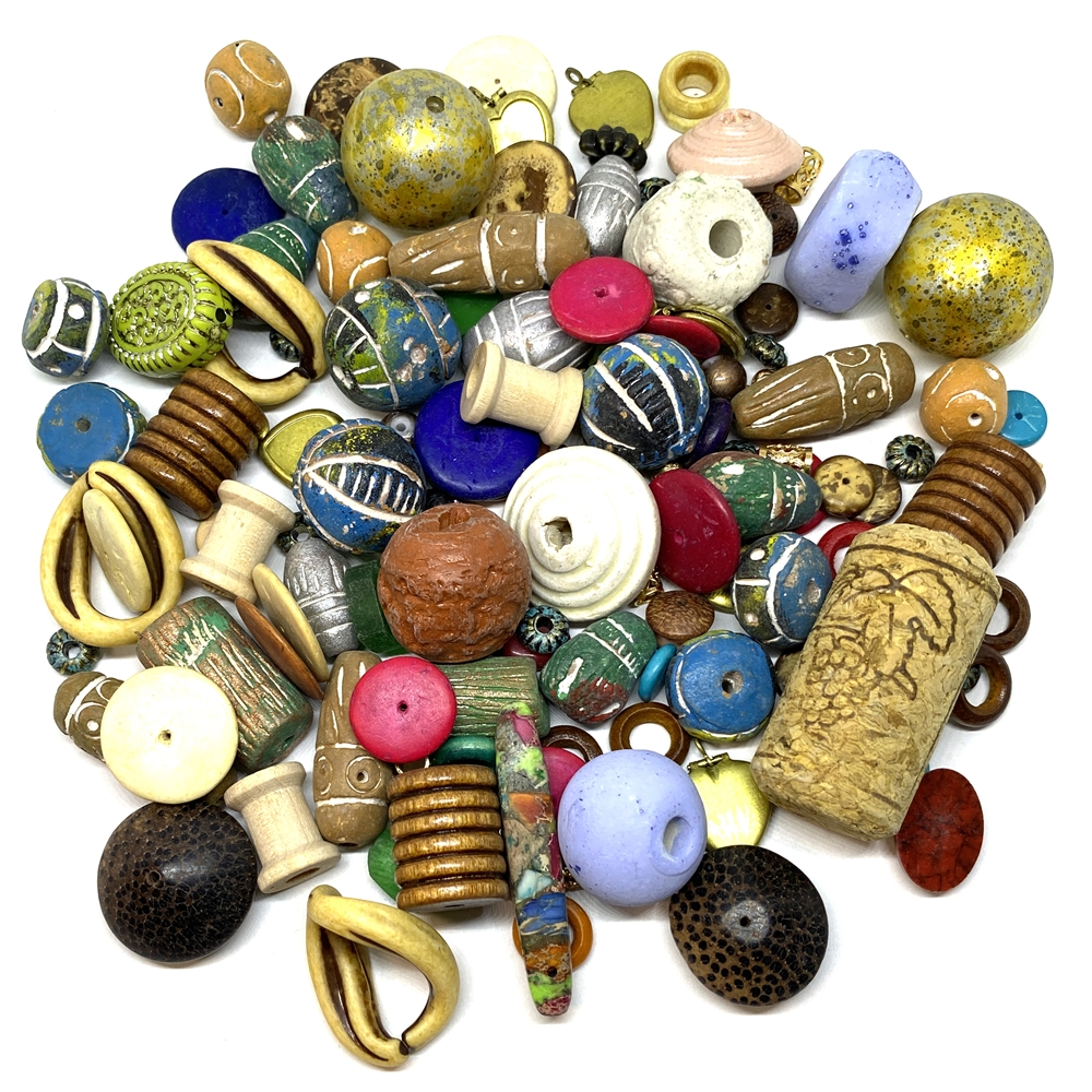 bsueprojectmix#2, vintage beads, OOAK, bd0214, wooden beads, spool beads, vintage 50's beads, pottery beads, coco beads, colorful beads, cheerio beads, patina beads, cork, lockets, mixed media, found items