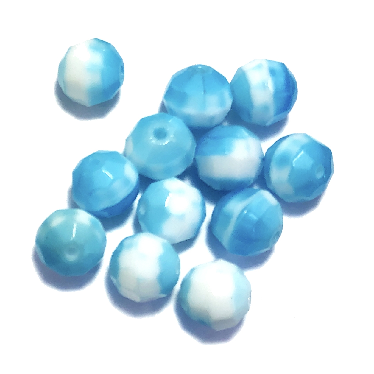 Aqua faceted glass beads, German glass beads, beading supplies, two tone beads, white and aqua jewelry making, jewelry supplies, vintage supplies, B'sue, round beads, 8mm, faceted beads, glass beads, 0218