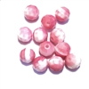 Pink faceted glass beads, German glass beads, beading supplies, two tone beads, white and pink, jewelry making, jewelry supplies, vintage supplies, B'sue, round beads, 8mm, faceted beads, glass beads, 0219