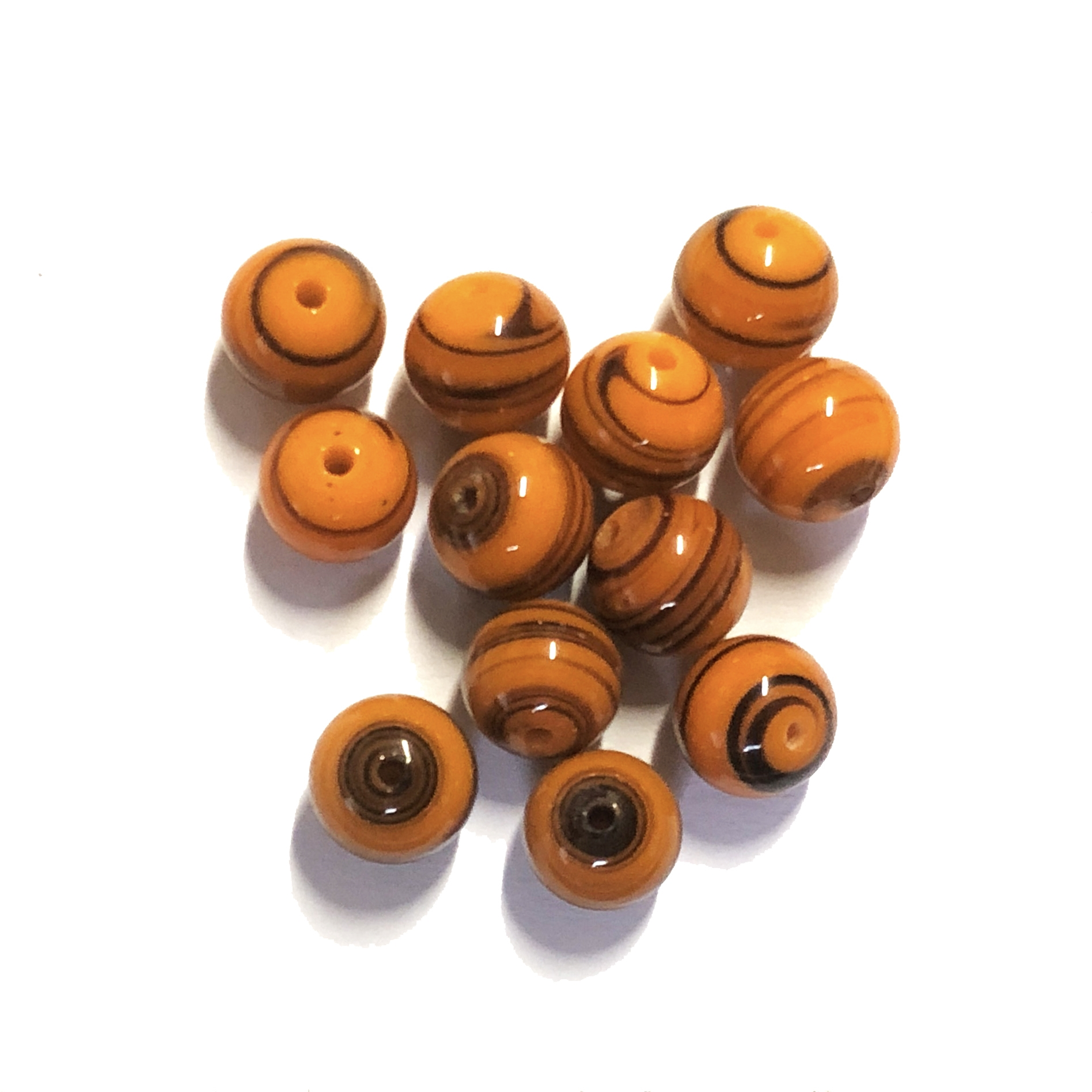 glass swirl beads, Japanese glass, orange, 8mm, 0224, jewelry making supplies, beading supplies, glass beads, bsueboutiques, swirl beads, round beads, sphere beads, opaque orange, orange black swirl beads,