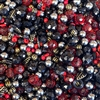 vintage beads, ruby red, black, acrylic beads, vintage plastic, dramatic bead mix, mixed beads, assorted vintage beads, epoxy resin, acrylic, B'sue Boutiques, 02242, red and black mix, assorted shapes and sizes