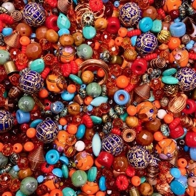 Sari Silk, designer bead mix, sari ribbon, colors of India, Bombay, Mumbai, sari dress, Indian wedding dress, acrylic beads, semi precious beads, embossed beads, Czech glass, turquoise briolettes, patina beads, cheerio beads, wheel beads, B'sue, 02246