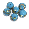 Czech glass pattern beads, turquoise, 12mm, 0227, jewelry making supplies, beading supplies, Czech beads, bsueboutiques, ribbon beads, round beads, sphere beads,  turquoise blue beads,