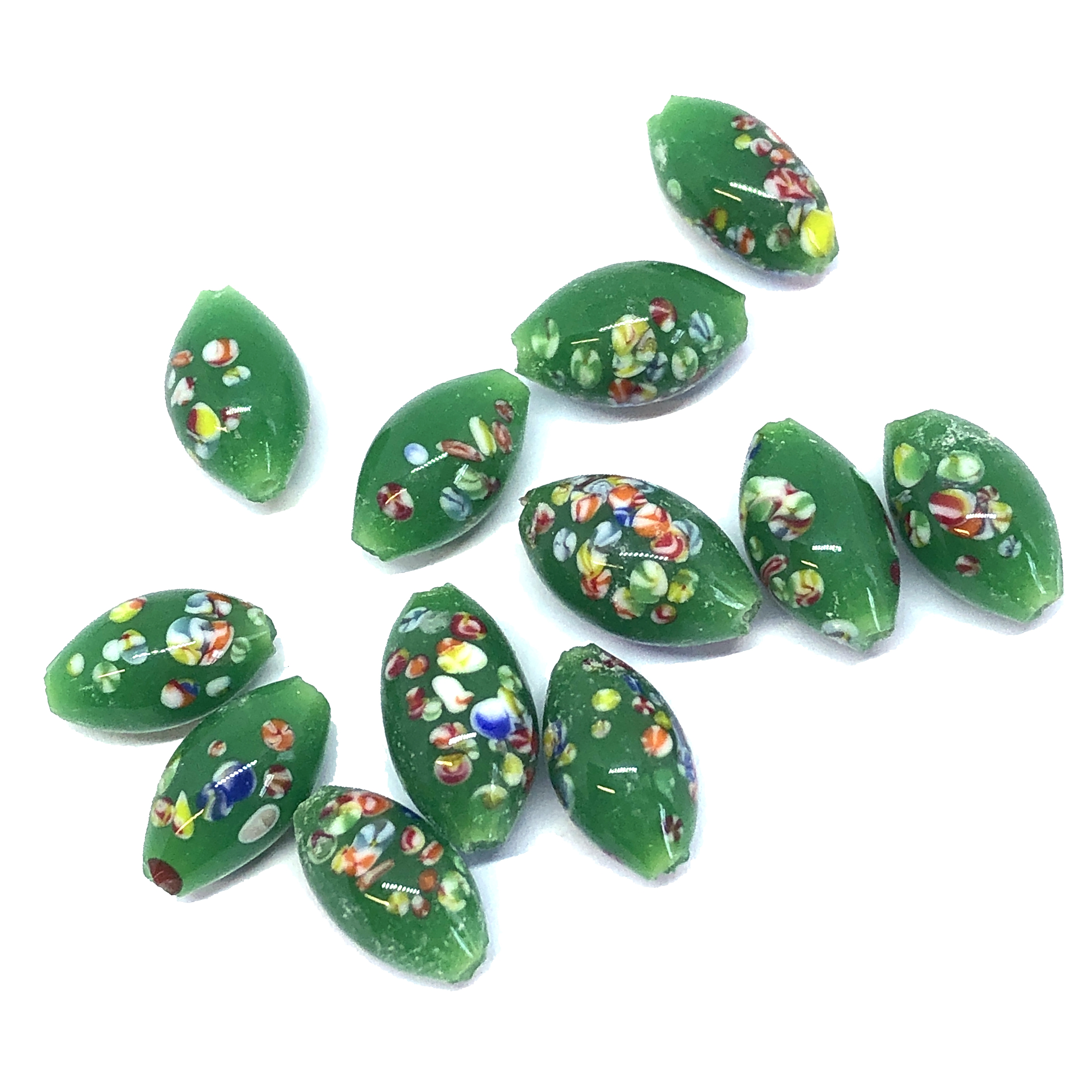 deep green oval glass beads, glass beads, beads, Japanese, glass beads, glass, oval beads, 1960s, glass oval beads, 12x6mm, jade green, beading supplies, jewelry making, jewelry supplies, B'sue Boutiques, jewelry findings, 0231