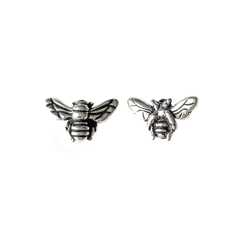 honeybee bead, cast pewter, antique silver, bee bead, bead, honeybee, bee, jewelry supplies, bead bee, jewelry bee, jewelry bead, bug bead, 9x15mm, jewelry findings, vintage supplies, jewelry making, B'sue Boutiques, 02344