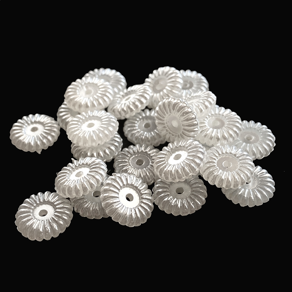 flower acrylic pearl beads, white beads, rondelle beads, beads, flower beads, pearl beads, donut-shaped beads, acrylic beads, imitation pearl beads, jewelry beads, jewelry pearl, jewelry making, vintage supplies, jewelry supplies, B'sue, 11x3mm, 02374