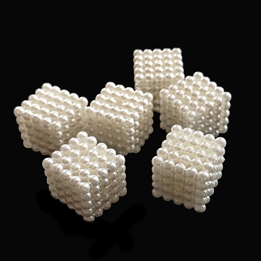 cube acrylic pearl beads, beige beads, cube, cube beads, beads, pearl cube beads, pearl beads, acrylic beads, imitation pearl beads, jewelry beads, jewelry pearl, jewelry making, vintage supplies, jewelry supplies, B'sue, 14x14mm, 02378