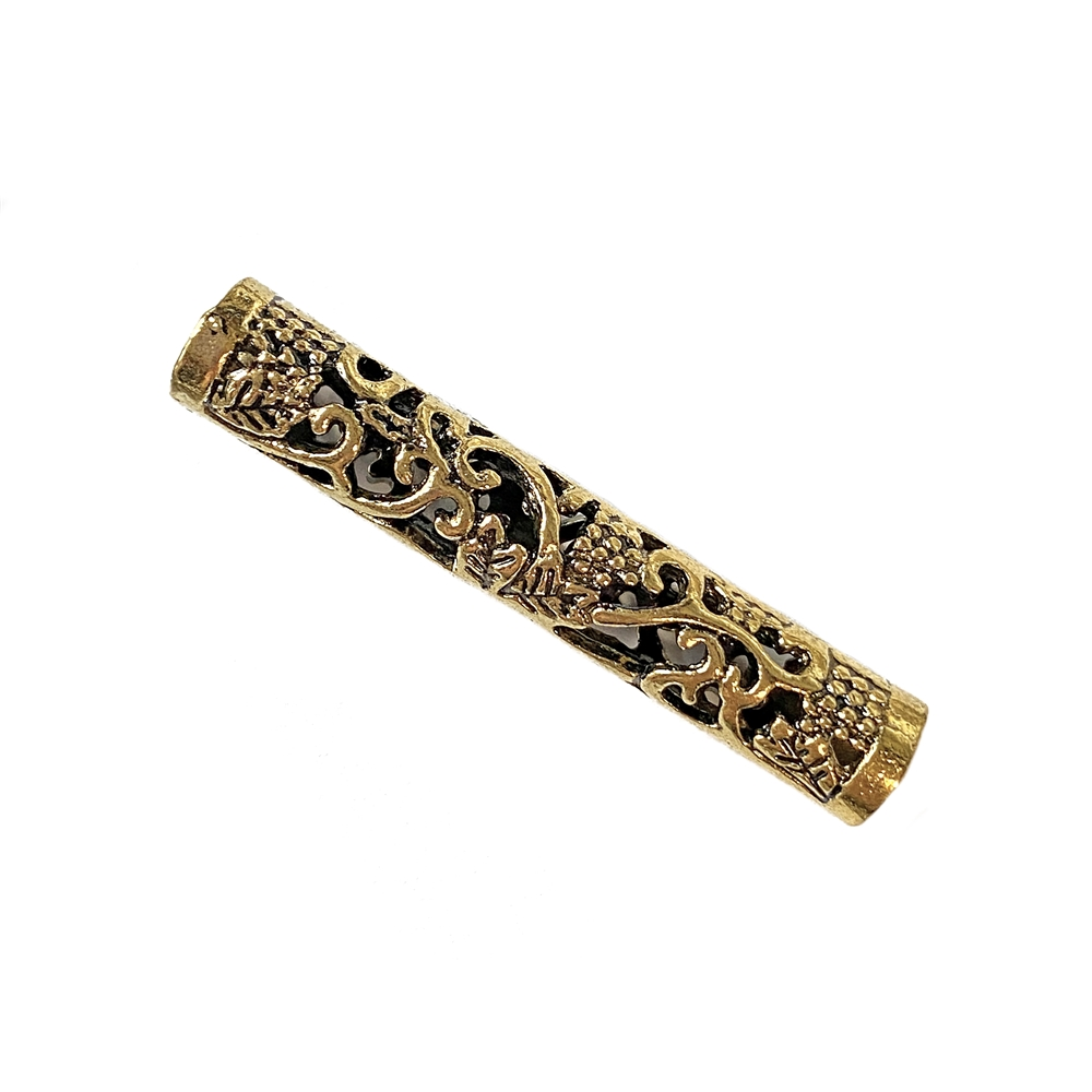 elegant filigree gold finish tube bead, tube bead, filigree bead, metal bead, cast zinc, floral tube bead, 38x6mm bead, antique gold, elegant bead, jewelry making, vintage supplies, jewelry supplies, tube jewelry, cast bead, beading supplies, 02461