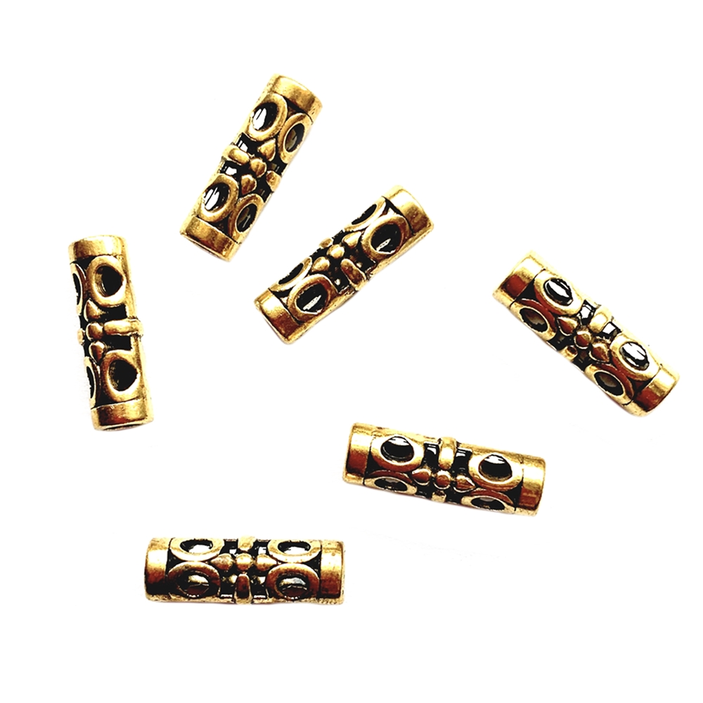 filigree style tube beads, antique gold beads, tube beads, beads, 18x6mm beads, long beads, metal beads, gold bead, filigree beads, cast zinc beads, pierced beads, oriental beads, jewelry making, beading supplies, jewelry supplies, vintage supplies, 02463