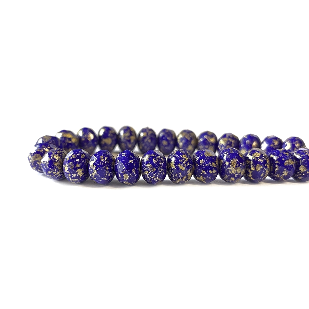 Czech vintage style rondelle beads, 8mm beads, rondelle beads, Czech lapis, lapis lazuli, glass beads, blue beads, deep blue beads, gold fleck beads, faceted beads, beads, semi precious beads, jewelry making, vintage supplies, jewelry supplies, 02466