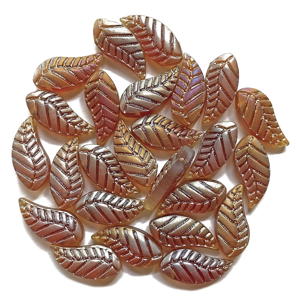 metallic smoke topaz AB leaf beads, beads, glass, glass beads, 18x8mm, shades of topaz, sided drilled, topaz, gold, 25 pieces, jewelry making, B'sue Boutiques, jewelry findings, vintage supplies, jewelry supplies, beading supplies, lampwork glass, 02476