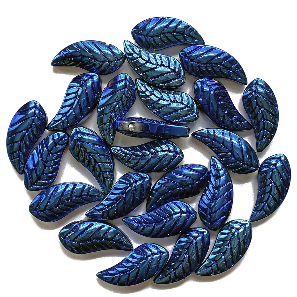 metallic blue leaf beads, beads, glass, glass beads, 18x8mm, shades of blue, sided drilled, blue, metallic blue, 25 pieces, jewelry making, B'sue Boutiques, jewelry findings, vintage supplies, jewelry supplies, beading supplies, lampwork glass, 02477