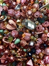 bd02487, designer bead mix, rust, orange, green, gold, copper, big beads, little beads, all kinds of beads, acrylic, composition plastic, fashion beads, funky town bead mix, vintage bead mix, B'sue Boutiques, one of a kind, mixed color beads, chunky beads