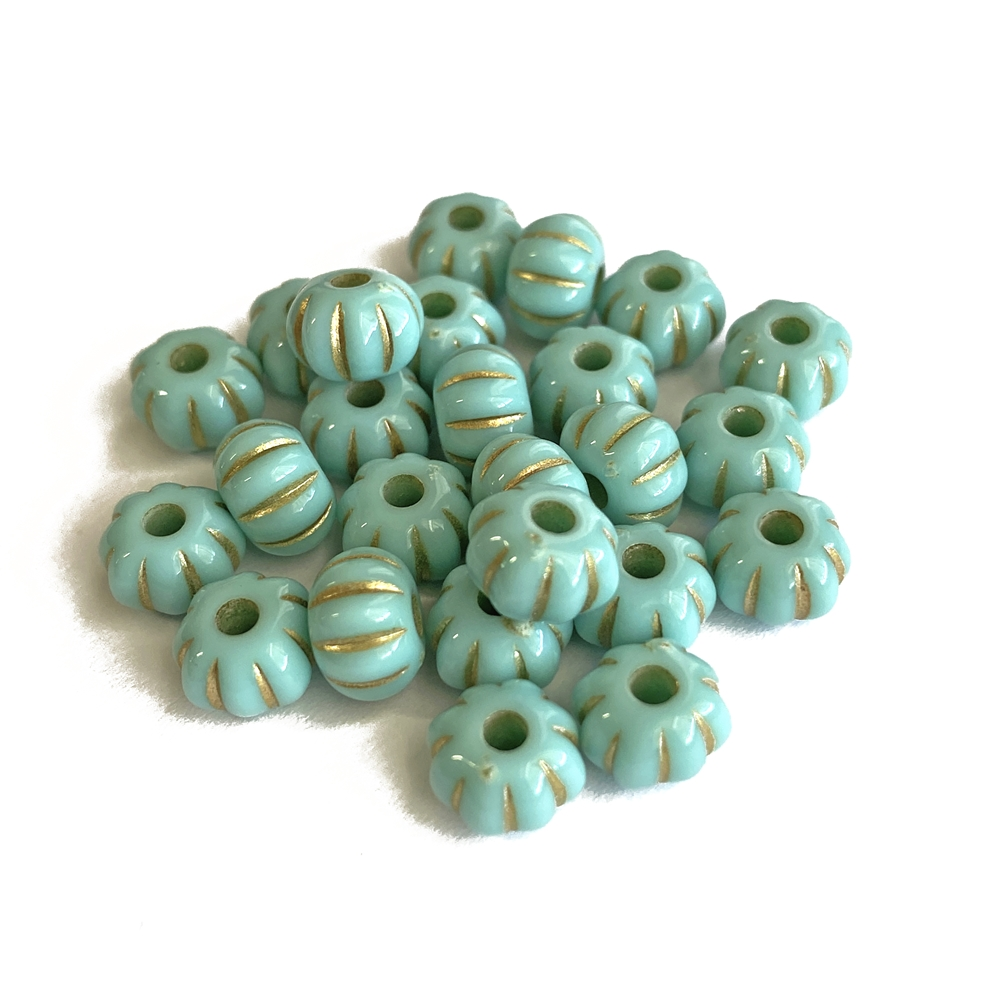 pumpkin turquoise beads, 11 x 7mm bead, beads, B'sue Boutiques,  dyed howlite, jewelry making, beading supplies, melon bead, vintage supplies, melon, 03658