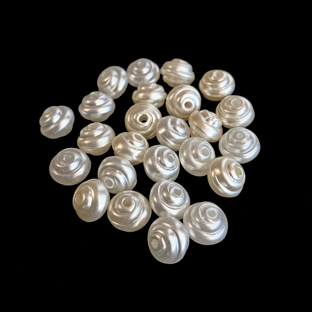 spiral imitation pearl acrylic beads, mixed colors, spiral beads, pearl beads, acrylic beads, 8x6mm beads, white pearls, cream pearls, ivory pearls, jewelry beads. jewelry pearls, vintage supplies, jewelry supplies, jewelry making, jewelry findings, 02493
