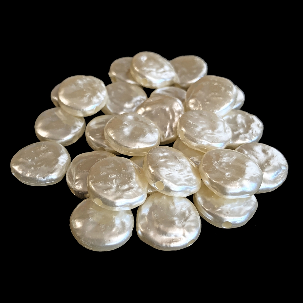 imitation coin pearl beads, beige, coin beads, pearl beads, acrylic beads, 14mm beads, beige pearls, pearls, barque beads,  jewelry beads. jewelry pearls, vintage supplies, jewelry supplies, jewelry making, jewelry findings, 02495