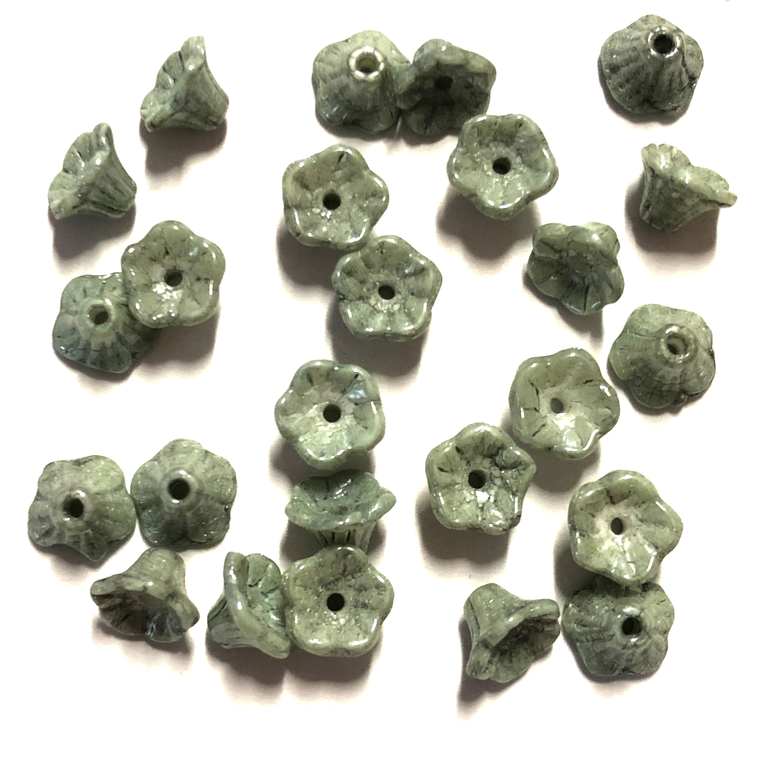Mini Bell Flower Beads, Czech Glass Beads, 0261, flower cup beads, Chalk White Teal Luster, muted green luster,  bell flowers, 5x7mm, assorted beads, beads, glass beads,  flowers, floral beads, beading supplies, jewelry supplies